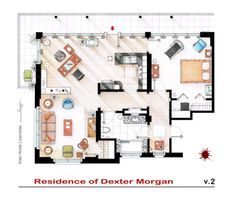 Office area ░ Spanish artist and interior designer Iñaki Aliste Lizarralde draws these famous house and apartment floor plans as a hobby, giving the TV viewer a new perspective on the homes in which our cherished characters reside. This is Dexter Morgan's apartment.