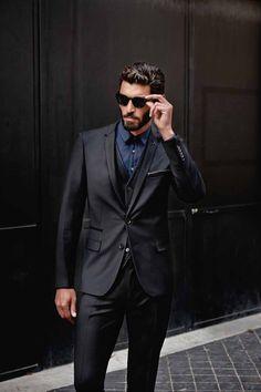 costume canyon noir gilet canyon noir chemise ville taric marine - Izac Costume Mariage