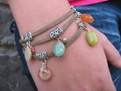 Bohemian Wrap Leather Bracelet With Gemstone Charms