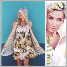 Arrives This Week! Sunflower Dress Too cute, the perfect summer sun flower dress with a lace crochet appliqué across bust. Spaghetti strap razor back style. Made of rayon and fully lined. Size S, M, L jacket sold separately. Bundle and save. Threads & Trends Dresses