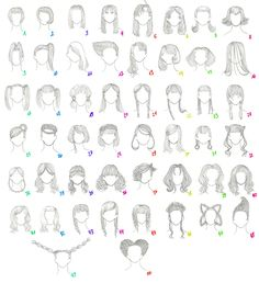 how to draw female anime hair | 50 Female Anime Hairstyles by ~MiriamDreesbach on deviantART