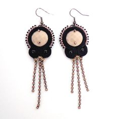 Black and nude soutache earrings by Lolissa on Etsy