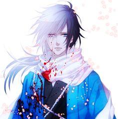 anime heterochromia / odd eyes red blue (Saitou Hajime hakuouki)