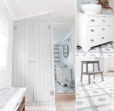 Vicky's Home: Suelos hidráulicos con un toque vintage / Historic tiles with a vintage touch Loft Spaces, Small Spaces, Living Spaces, Ikea Stockholm, Baths Interior, Large Tub, Ikea Us, Laundry Room Storage, Piece A Vivre