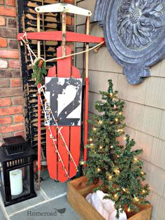 A Vintage sled gets a makeover worthy of a family heirloom. Christmas Sled, Antique Christmas, Primitive Christmas, Rustic Christmas, Primitive Snowmen, Father Christmas, Christmas Yard Decorations, Outside Decorations, Winter Decorations