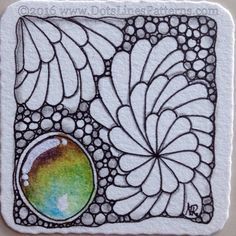 "https://flic.kr/p/CuDsY9 | 20160108_Bijou_ZenGems18 | Bijou tile for the ZenGems swap :) exploring tangles to go with the ""gems"". Derwent Inktense pencils activated with water, Sakura Micron, Uniball Signo white pen."