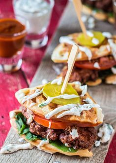 Spicy Chicken and Waffles Sandwiches