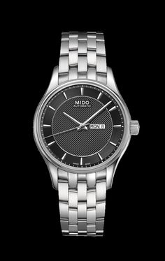 Mido Women s Belluna with a black dial and white metal band style    M001. 21a79bf3677