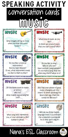 Ignite conversation in your classroom with these engaging conversation starter cards about music, singers, bands and hobbies. A total of 40 cards with one or more questions per card. English Speaking Skills, English Vocabulary Words, English Language Learning, Learn English Words, English Study, English Lessons, Teaching English, English Activities, Vocabulary Activities