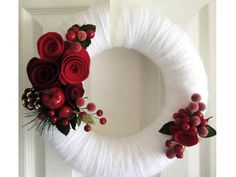 Christmas Wreath, Holiday Wreath, Yarn & Felt Wreath, Winter Door Decor, White Wedding - Red Roses and Berries 12 in. $85.00, via Etsy.