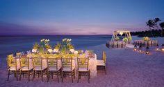 Romantic destination wedding reception and ceremony spot at Dreams Tulum Resort & Spa. Love the lantern aisle! #RivieraMaya #Mexico