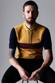 Fred Perry 2014 Spring/Summer Bradley Wiggins Collection: British fashion label Fred Perry has teamed up with fellow Brit and professional racing cyclist Chaussures Fred Perry, Fur Vintage, Bradley Wiggins, Fashion And Beauty Tips, Camisa Polo, Mod Fashion, Tennis Fashion, Fashion Labels, British Style