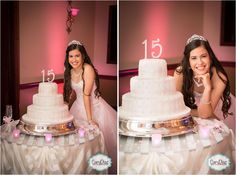 Cute posing ideas with Quinceanera cake  Carly Diaz Photography