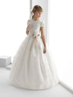 Vestido Infantil Dama De Honra Organza Ball Gown Scoop Short Sleeve Floor Length Waist Decoration Flower Girl's Dress-in Flower Girl Dresses from Weddings
