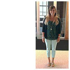 JULY 9, 2013 WHAT I WORE: CAPRIS- LOFT BLOUSE- LOFT SWEATER- SONOMA SANDALS- NINA