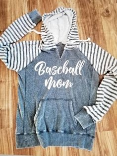 7f14ff99 Cute Baseball Mom super soft striped sleeve hoodie with open neckline.  Hooded sweatshirt.