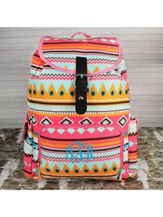 Aztec Print with Pink Trim Large Backpack