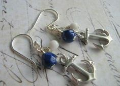 Navy and White Anchor Sterling Silver Earrings by leprintemps