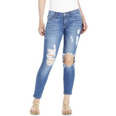 FLYING MONKEY Medium Wash Destroyed Skinny Leg Jeans ($60) ❤ liked on Polyvore featuring jeans, blues, ripped jeans, distressing jeans, torn skinny jeans, skinny jeans and distressed jeans