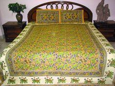3pc Indian Bedding Yellow Green Elephant Print Cotton Bedspread King Sized Bedding Set Throw by Mogul Interior, http://www.amazon.com/dp/B0098WWW20/ref=cm_sw_r_pi_dp_EpXtqb0KF5SW6$59.99