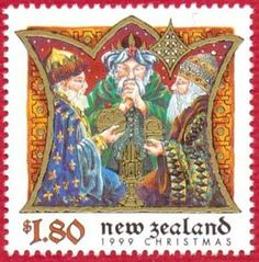 """""""Meri Kirihimete!"""" Leena, the Postationist elf, is always trying out ways to say Merry Christmas in new languages. This is how you say it in Maori. She likes the yummy smell of a BBQ Christmas lunch, the way some people enjoy their summer festivities in New Zealand. (Stamp: New Zealand 1999)"""