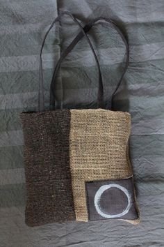 Burlap Patched Handprinted Tote by TrivialityLab on Etsy Sacs Tote Bags, Reusable Tote Bags, Handmade Handbags, Handmade Bags, Boho Bags, Craft Bags, Jute Bags, Types Of Bag, Patchwork Bags