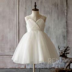 2016 Junior Bridesmaid dress, Off White Flower Girl dress Ruffle , Sweetheart Mesh Beading Puffy dress, Girls Maxi dress knee length (FK315)