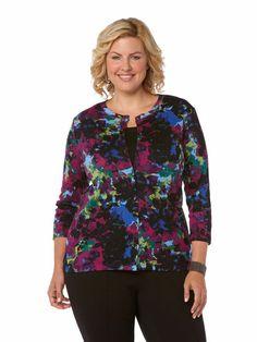 1 x 1 Nocturnal Floral Cardigan - Woman Plus #holidaycontest rafaellasportswear.com