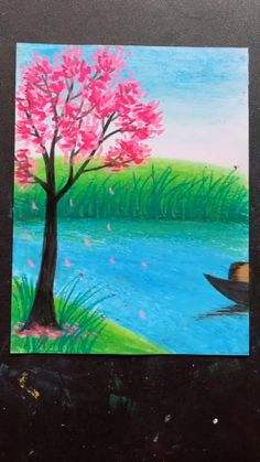 Oil Pastel Drawings Easy, Art Drawings Sketches Simple, Oil Pastel Paintings, Art Drawings Beautiful, Easy Nature Paintings, Tree Paintings, Canvas Painting Tutorials, Diy Canvas Art, Crayon Painting