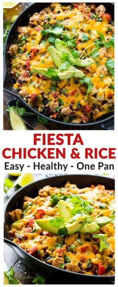 One Pan Cheesy Fiesta Chicken and Rice. Easy, healthy recipe that is PACKED with southwest ranch flavor! Juicy chicken, fresh veggies, and tender brown rice, cooked with a delicious blend of spices. If you like Mexican food, you will LOVE this recipe! #casserole #healthy #easy #fiestachicken