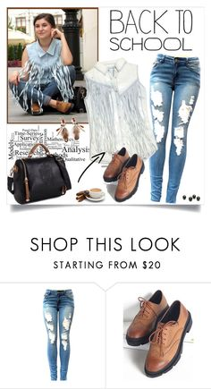 """Back to School Outfit"" by annabu ❤ liked on Polyvore featuring BLANKNYC, BackToSchool, fringe, rippedjeans, crossbodybags and laceupshoes"