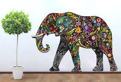 Elephant Decoration Vinyl Wall Art Decal Stickery Colorful Floral Elephant Wall Sticker decal