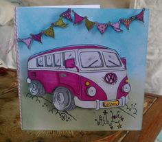 Camper van 3D card, I love making these are satisfying to colour. I use pro-markers.