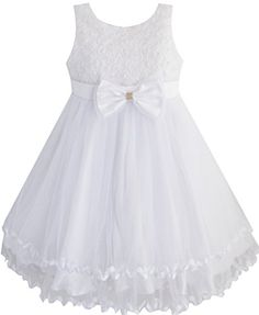 EE53 Girls Dress White Pearl Tulle Layers Wedding Pageant Flower Girl 6 *** Want additional info? Click on the image.