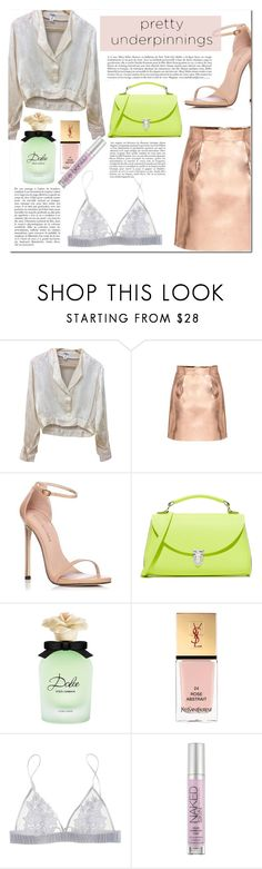 """""""/pink moment🍨\"""" by karminakhima ❤ liked on Polyvore featuring Chanel, Stuart Weitzman, The Cambridge Satchel Company, Dolce&Gabbana, Yves Saint Laurent, Fleur of England and Urban Decay"""