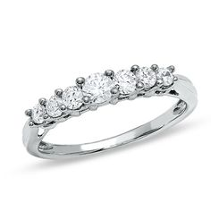 0.33 CT. T.W. Diamond Seven-Stone Band in 10K White Gold  - Peoples Jewellers