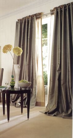 Really unusual combination of slot heading curtains on stainless steel pole with linen voile secondary curtains with a stand up ruffle heading. Drapes And Blinds, Curtain Poles, Showcase Design, New Builds, Soft Furnishings, Window Treatments, Slot, Upholstery, Cushions
