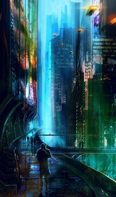 Blade Runner by norbface on DeviantArt / sci fi city / colorful city lights / cyberpunk Cyberpunk City, Ville Cyberpunk, Arte Cyberpunk, Cyberpunk Aesthetic, Futuristic City, Arte Punk, Sci Fi City, Matte Painting, Science Fiction Art