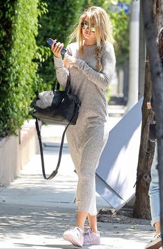 Gigi Hadid wearing grey maxi dress Having lunch with Joe Jonas at Osteria Mozza