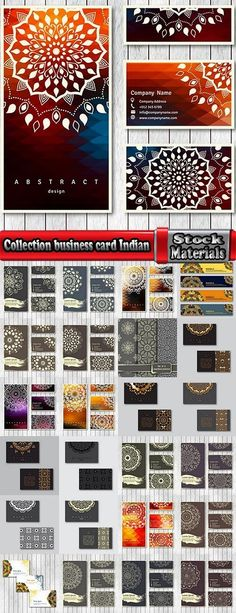Collection business card Indian ethnic ornament pattern mandala flyer image a…