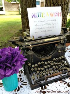 Write a wish vintage typewriter Sweet 16 Party Vintage Sweet 16, Vintage Birds, Breakfast At Tiffanys Party Ideas, Book Release Party, Sweet 16 Birthday, 16th Birthday, Happy Birthday, Rainbow Decorations, Sweet Sixteen Parties