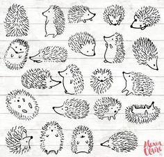 H risson Clipart 22 h risson Doodle Clip art carte de Etsy Doodle Drawings, Easy Drawings, Animal Drawings, Doodle Tattoo, Tattoo Hand, Tattoo Drawings, Hedgehog Art, Hedgehog Drawing, Hedgehog Tattoo