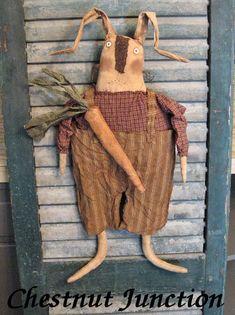 Roscoe Rabbit primitive easter bunny doll by chestnutjunction, $3.99