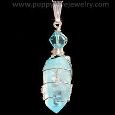 Pastel Sky Blue Aura Quartz Crystal Wire Wrap Pendant in Sterling by PUPPYLOVE | eBay