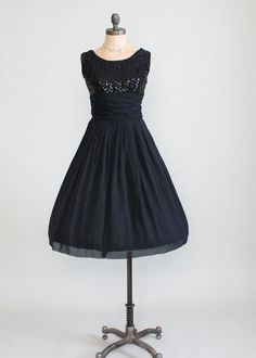 Vintage 1950s Sequins and Chiffon Black Party Dress