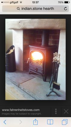 Wood Burning Stoves- I like how it is recessed into an old fire place Log Burner Living Room, Living Room With Fireplace, New Living Room, Living Room Decor, Cottage Fireplace, Cozy Fireplace, Fireplace Mantels, Exposed Brick Fireplaces, Wood Burner Fireplace