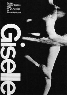 "LIKE: movement with hard graphic element ""Giselle, Basler Freilichtspiele,"" photolithograph, 1959. Designer: Armin Hofmann."