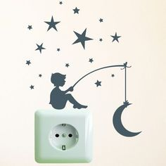 Fantastic Photographs Wall sticker light switch socket star moon by wandtattoo-loft via dawand … Suggestions Got kids ? Then you know that their material winds up actually all around the home! But if you pla Creative Wall Painting, Wall Painting Decor, Creative Walls, Diy Painting, Wall Art, Vinyl Decor, Diy Wall Decor, Home Decor, Ideas Decorar Habitacion