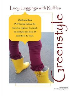 Lucy Ruffle Leggings with Hem Options PDF Sewing Pattern for Girls Size 18 months through 12 years – GreenStyleCreations Knit, ruffle hem, square hem or plain hem Kids Clothes Patterns, Clothing Patterns, Diy Clothing, Sewing Clothes, Swimsuit Fabric, Girls In Leggings, Knitting For Beginners, Pdf Sewing Patterns, 18 Months