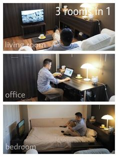 So I had a 94sf space in my basement that was just intended as a home office, but decided to also turn it into a functional tv room and guest bedroom as well. Hope this inspires you to make the most out of your space :).